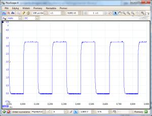 Przebieg sygnału na pinie TXD (GPIO14) przy wysyłaniu znaku 85 (binarnie 01010101)