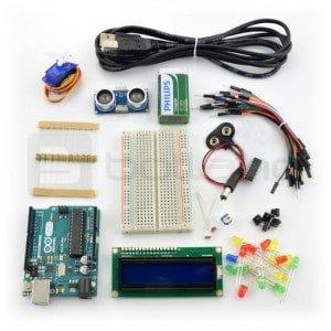 Zestaw elementów do kursu Arduino.