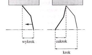 Rys. 8.Długość kroku oraz jego składniki – wykrok i zakrok [1].