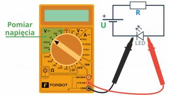 Pomiar napięcia - przykładowe podłączenia miernika, aby zmierzyć spadek napięcia na diodzie.