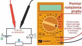 Pomiar prądu - przykładowy sposób wpięcia miernika, aby zmierzyć prąd pobierany przez diodę.
