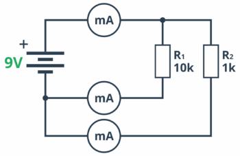 Prawo Kirchhoffa prosty schemat demonstrujący przepływ prądu w układzie