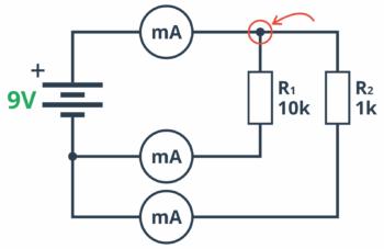 Pomiar prądu na węźle w celu sprawdzenia prawa Kirchhoffa