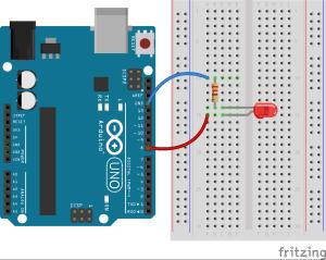 Podłączenie diody do Arduino.