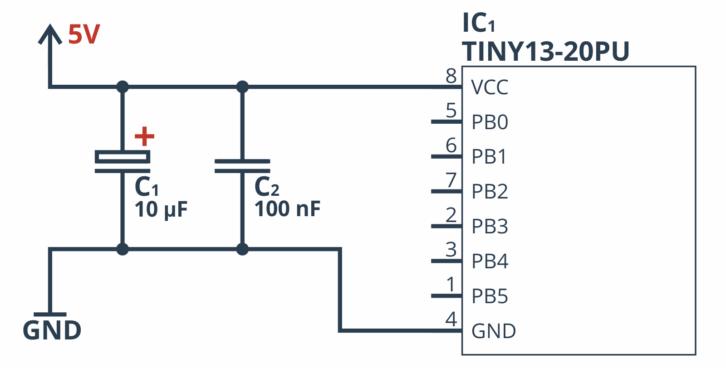 Kondensatory filtrujące przy wejściach mikrokontrolera