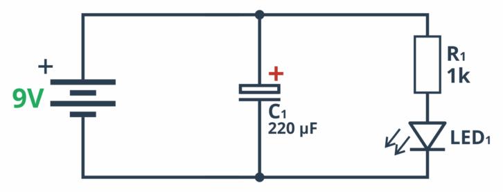 Schemat pozwalający na sprawdzenie działania kondensatora