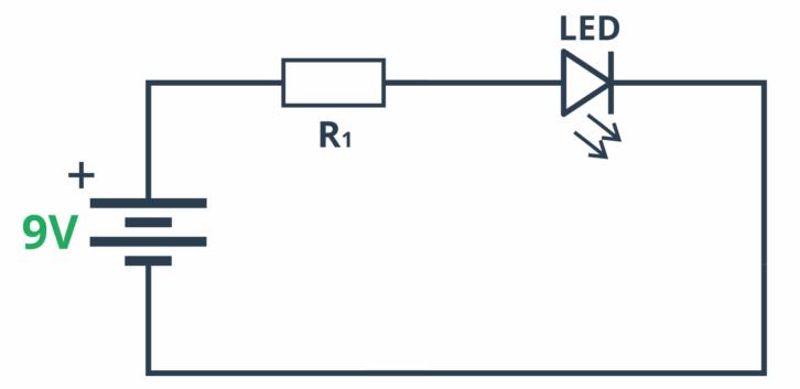 Schemat testujący diodę świecącą podłączoną do baterii przez rezystor