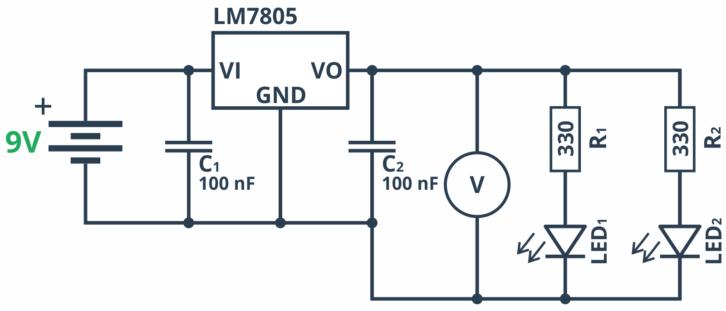 Schemat ideowy układu demonstrującego działanie stabilizatora w praktyce.