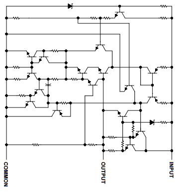 Wnętrze stabilizatora liniowego 7805