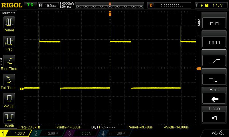 Przykładowy, zmierzony sygnał PWM.