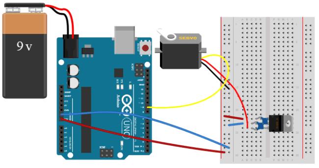 Podłączenie serwomechanizmu do Arduino.