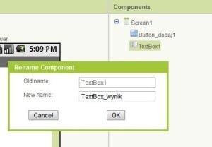 Zmiana nazwy komponentu w App Inventor.