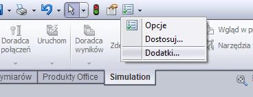 SolidWorks - wybór dodatków.