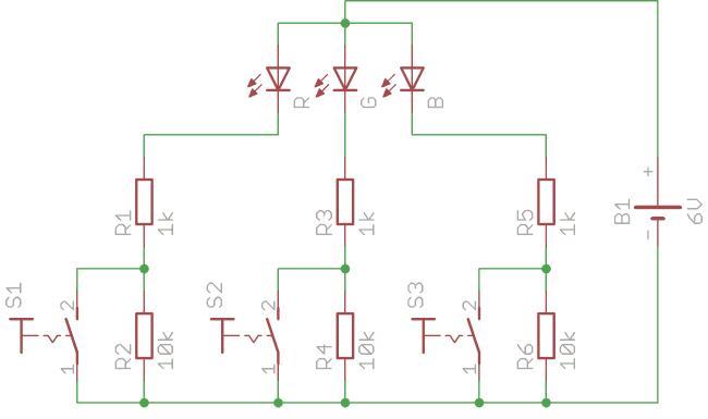 Schemat układu z diodą RGB