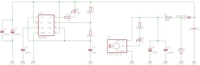 Schemat ideowy detektora odległości.