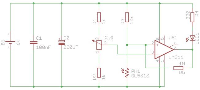 Schemat detektora światła na fotorezystorze.