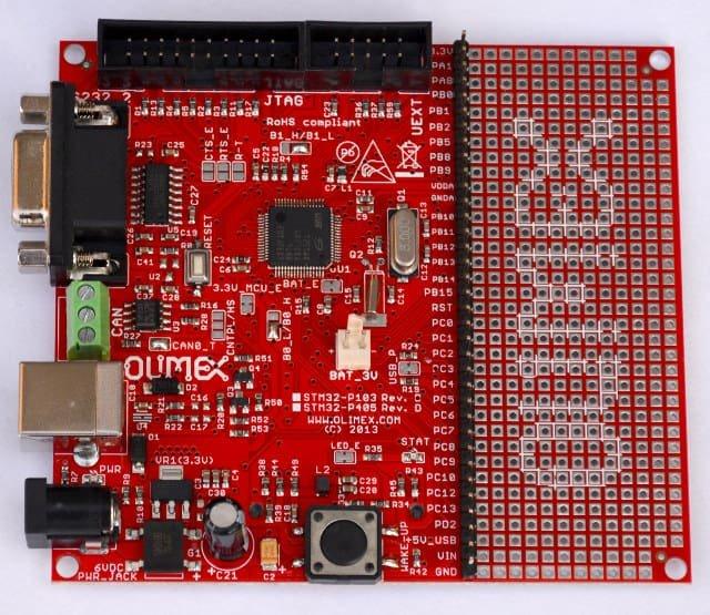 Płytka Olimexu dla STM32, na której testowano GD32.