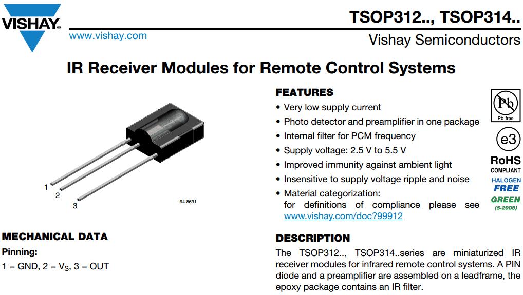 Fragment noty katalogowej odbiornika podczerwieni TSOP31236.