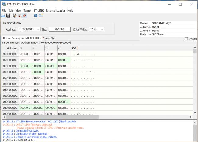 Ekran programu ST-Link Utility po poprawnym połączeniu z płytką Discovery