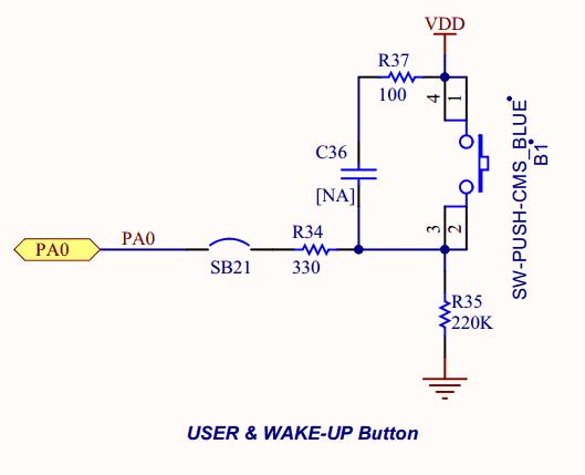 Schemat podłączenia przycisku użytkownika na płytce STM32F411E-Discovery