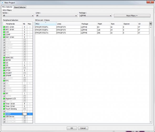 Wyszukiwanie odpowiedniego mikrokontrolera znając wymagania dotyczące peryferii.