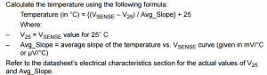 Wzór na obliczanie temperatury na podstawie pomiaru z wewnętrznego czujnika mikrokontrolera