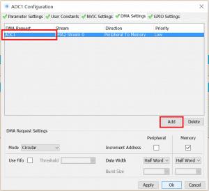 Konfiguracja DMA dla przetwornika ADC