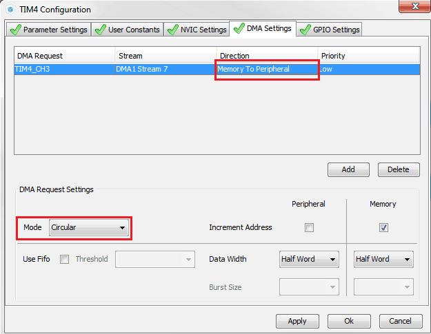 Konfiguracja kanału DMA dla timera generującego sygnał PWM