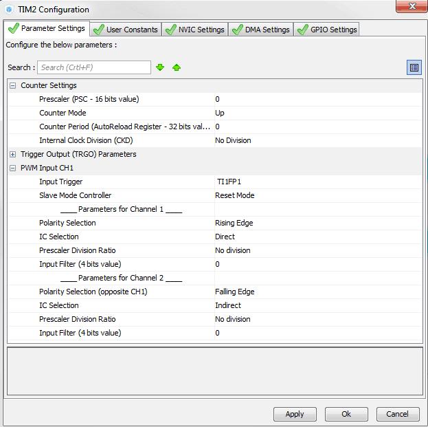 Panel konfiguracyjny timera 2 skonfigurowanego w trybie PWM Input