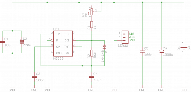Schemat ideowy sterownika serwomechanizmów.