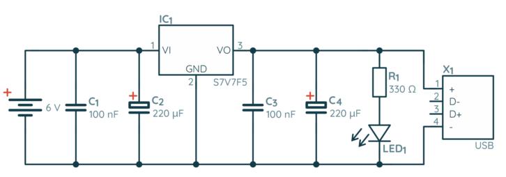 Schemat prostej zapasowej ładowarki USB