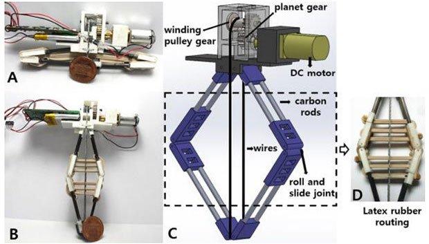 A: moduł ze zmagazynowaną energią, B: moduł, w którym energia została uwolniona, C: model CAD, D: gumki