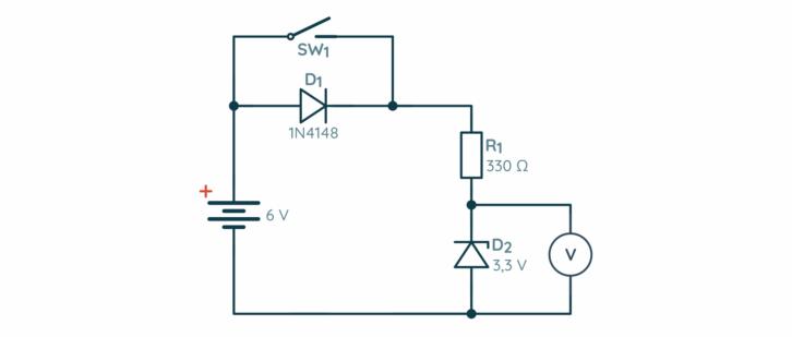 Schemat układu do badania właściwości diody Zenera