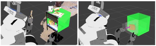 PR2 lokalizuje półkę (po lewej) oraz narzędzie (po prawej).