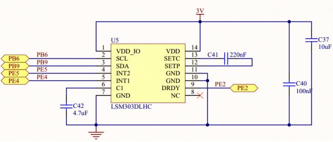 Schemat podłączenia układu LSM303DLHC na płytce STM32F411-Discovery