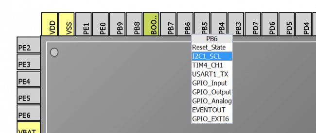 Konfiguracja wyprowadzenia PB6 jako linii zegara peryferium I2C1.
