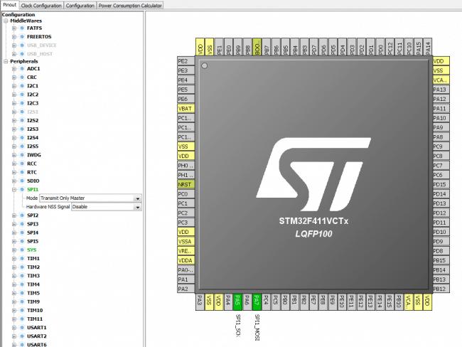 Konfiguracja SPI w trybie Transmit Master Only