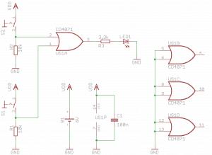 Schemat układu testującego bramkę OR.