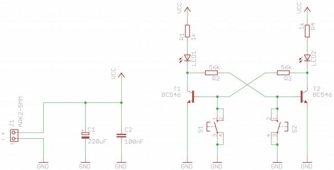 Schemat układu z przerzutnikiem bistabilnym.