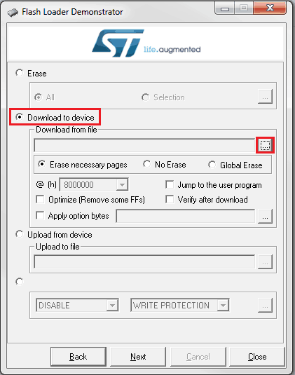 Ekran wyboru akcji aplikacji obsługującej bootloader