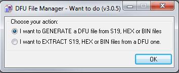 Ekran startowy programu DFU File Manager