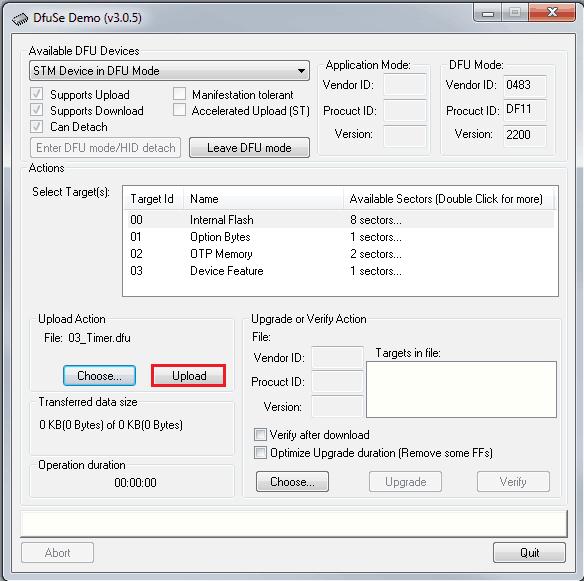 Wczytany i przygotowany do wgrania na mikrokontroler plik binarny