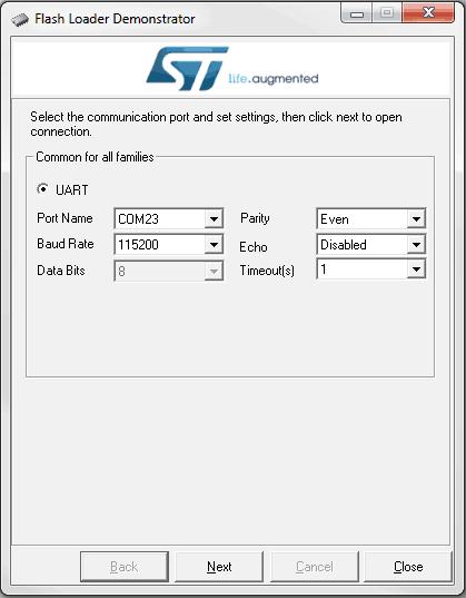 Ekran startowy aplikacji Flash Loader Demonstrator