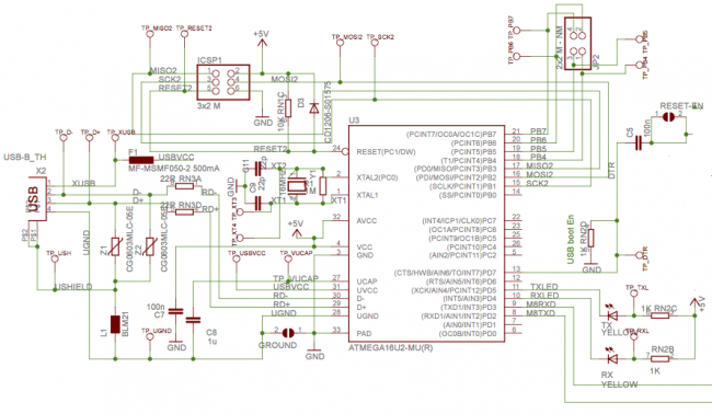 Drugi mikrokontroler na płytce Arduino.