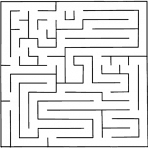 Rys. 7. Każdy segment labiryntu ma przypisany szacowany czas dotarcia 'myszy' (znajdującej się w tymże segmencie) do celu.