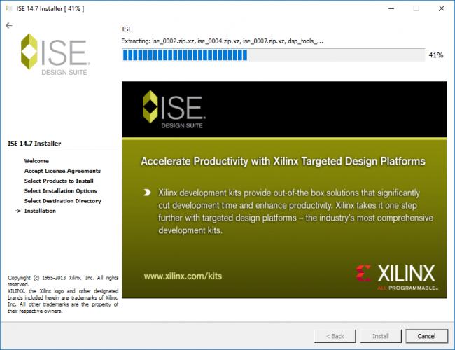 Trwający proces instalacji ISE.