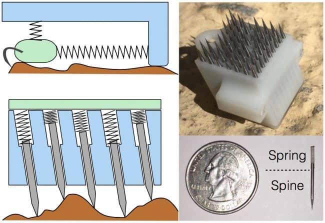 Poprzedni mechanizm (na górze po lewej) porównany z nowym mechanizmem (na dole). Płytka z kolcami (na górze po prawej) oraz pojedynczy kolec (na dole).