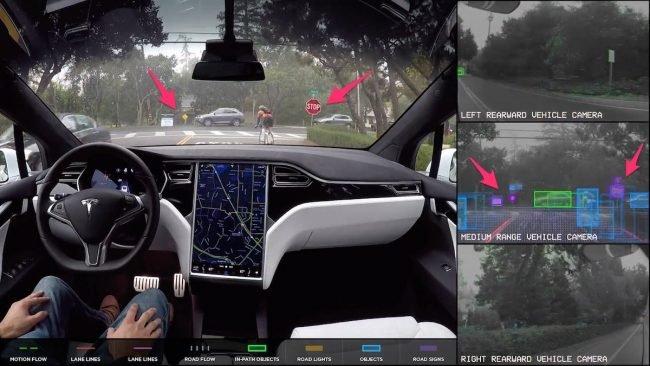 Samochód odróżnia znaki drogowe (zaznaczone na fioletowo) od innych obiektów.