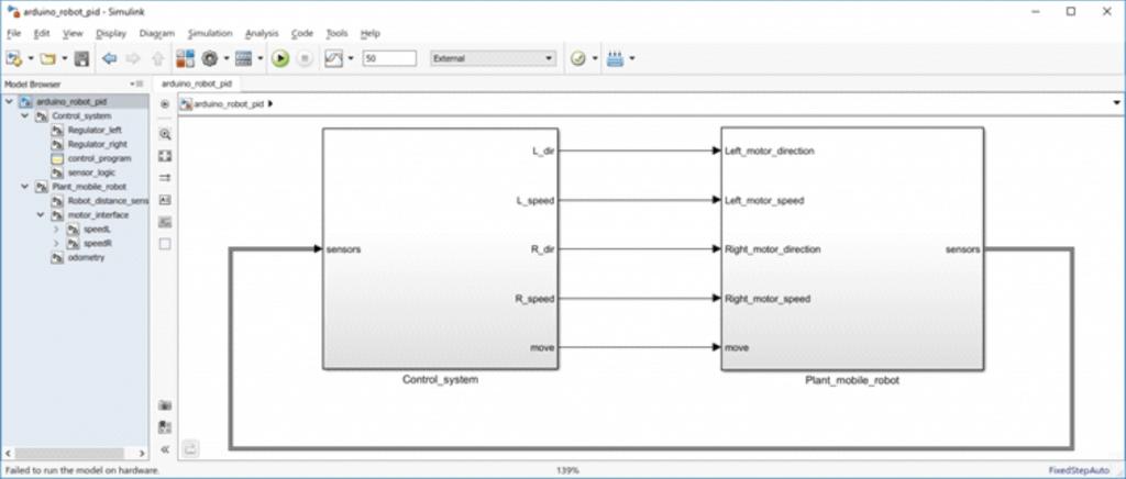 Model główny, prezentujący program przeznaczony do pracy na Arduino.