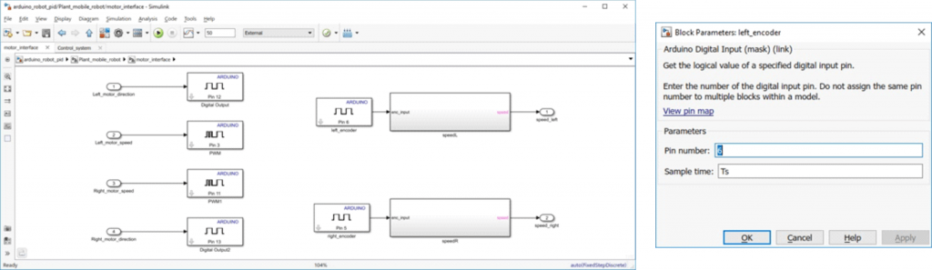 Interfejs sprzętowy zrealizowany z wykorzystaniem bloków z pakietu Arduino Support from Simulink (otwarte okno konfiguracji wejścia cyfrowego).